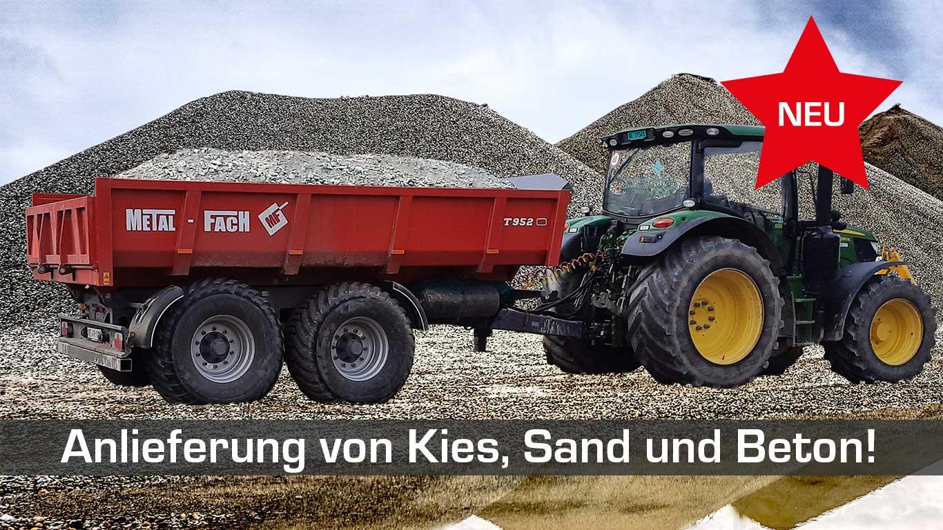 Anlieferung von Kies, Sand und Beton